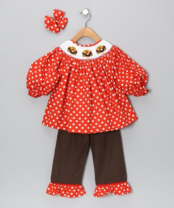 Orange Polka Dot Turkey Ruffle Pants Set - Girls