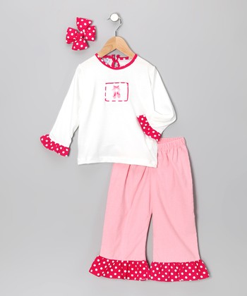 Pink Ballet Shoe Ruffle Pants Set - Girls