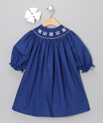 Navy Snowflake Dress & Bow - Toddler & Girls