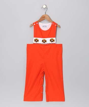 Orange Turkey Overalls - Toddler