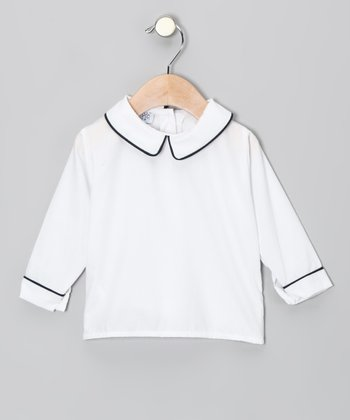 White & Navy Long-Sleeve Shirt - Infant