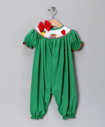 Green Back to School Bubble Playsuit & Bow Pin - Infant