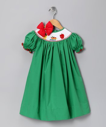 Green Back to School Bishop Dress & Bow - Toddler