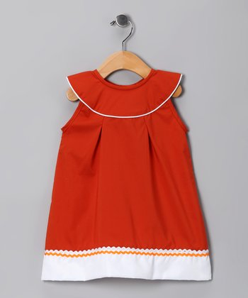 Burnt Orange Yoke Dress - Girls