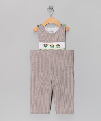 Brown Monkey Gingham Overalls - Infant & Toddler