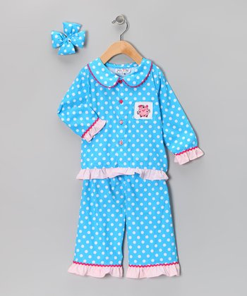Sky Blue Polka Dot Cropped Pants Set - Infant, Toddler & Girls