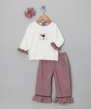 Garnet Gingham Carolina Ruffle Pants Set - Infant & Girls