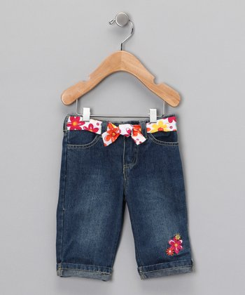 Medium Wash Pink Flower Crop Jeans - Infant