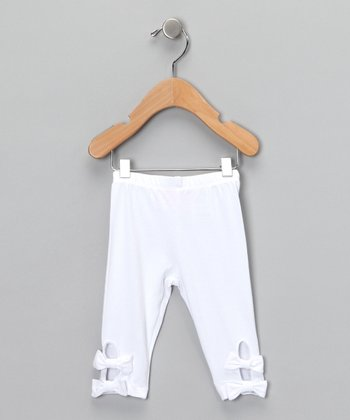 White Bow Leggings - Infant