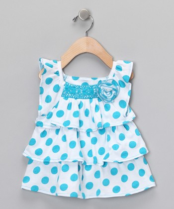 Turquoise Polka Dot Tunic - Infant, Toddler & Girls