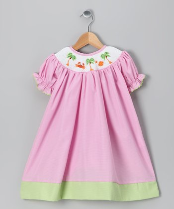 Pink Palm Tree Bishop Dress - Girls
