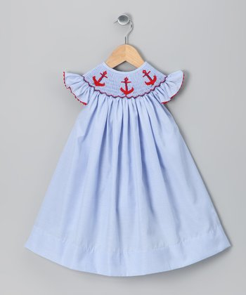 Blue Anchor Dress - Girls
