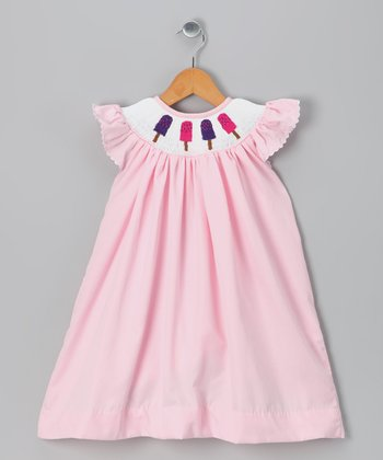 Pink Popsicle Angel-Sleeve Dress - Toddler & Girls