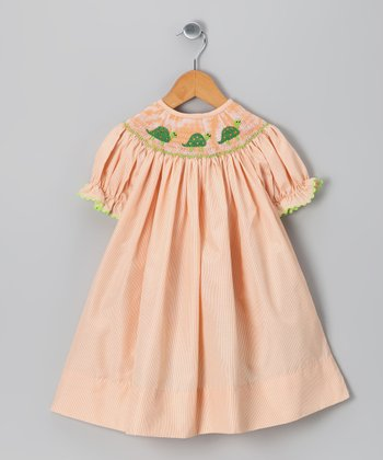 Light Orange Turtle Bishop Dress - Girls