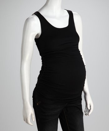 Black Ruched Seamless Maternity Tank