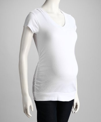 White Maternity V-Neck Tee