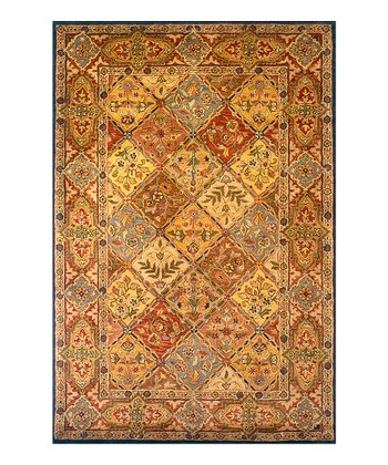 Brown Panel Wool Rug