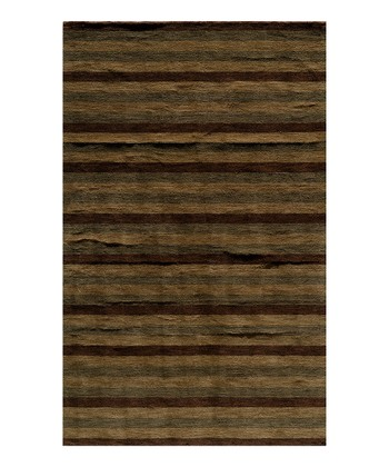 Brown Stripe Wool Rug