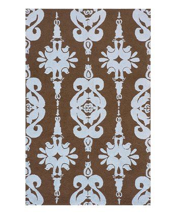 Soft Blue Damask Rug