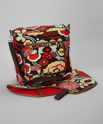 Mommy On The Go Diaper Bag Red & Brown Flower Convertible Diaper Bag