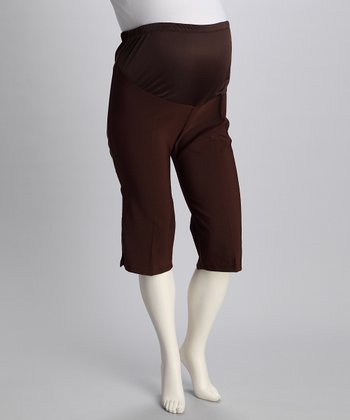 Brown Sunset Stroll Maternity Capri Pants