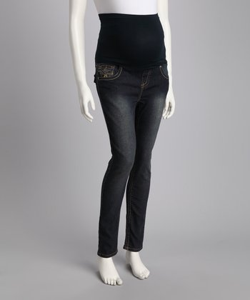Mommylicious Denim Stitched Jeaneology Over-Belly Maternity Jeans
