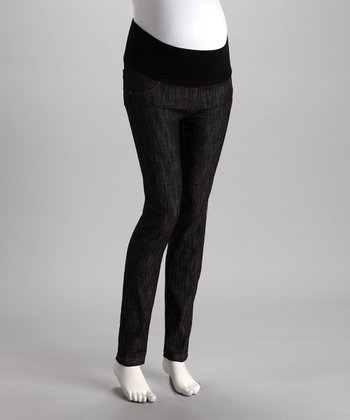 Black Razor Wash Mid-Belly Maternity Jeans