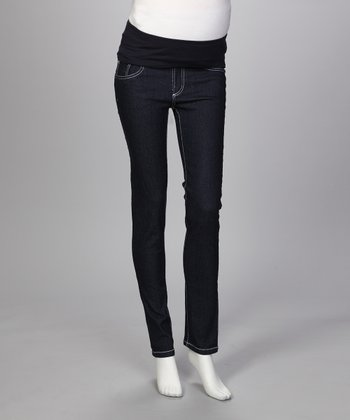 Dark Wash You're So Smarty Maternity Skinny Jeans