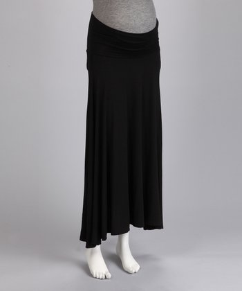 Black Maternity Maxi Skirt