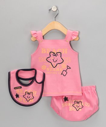 Pink Starfish 'Beach Bum' Dress Set