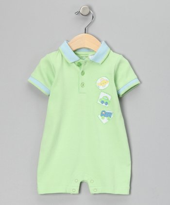 Lime Green Transportation Romper