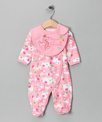 Pink 'Princess of Everything' Footie & Bib