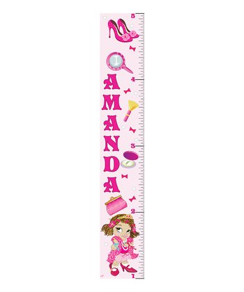 Curly-Haired Fancy Girl Personalized Growth Chart