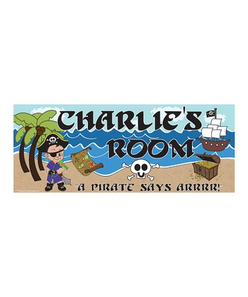 Dark-Haired Pirate Personalized Room Sign