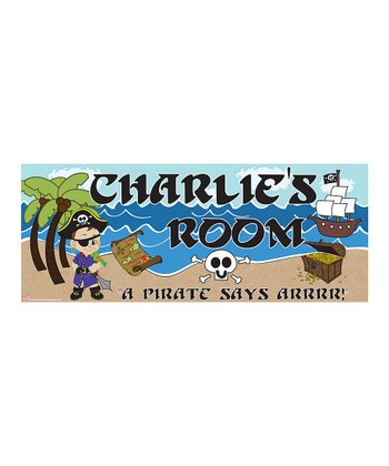 Brown-Haired Pirate Personalized Room Sign