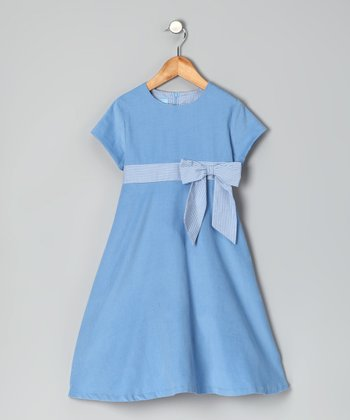 Blue Corduroy A-Line Dress - Girls