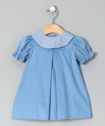 Blue Corduroy Puff-Sleeve Dress - Infant & Toddler