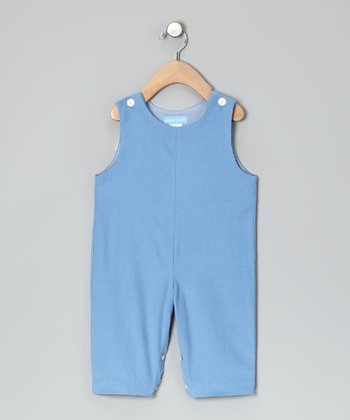 Party Blue Corduroy Initial Overalls - Toddler