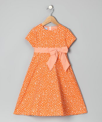 Orange Polka Dot A-Line Dress - Girls