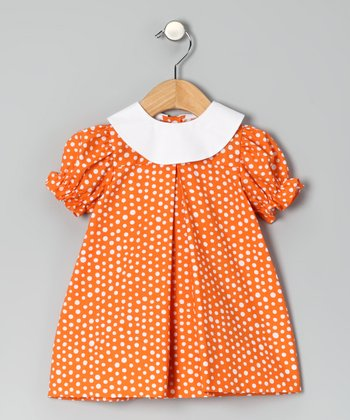 Orange Polka Dot Puff-Sleeve Dress - Infant & Toddler