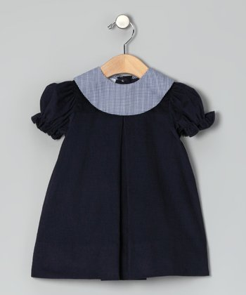 Navy Corduroy Puff-Sleeve Dress - Infant & Toddler
