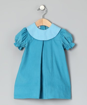 Turquoise Corduroy Puff-Sleeve Dress - Infant & Toddler