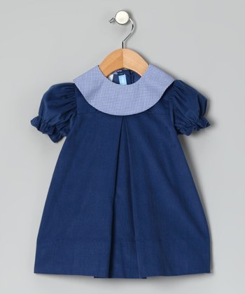 Denim Blue Corduroy Puff-Sleeve Dress - Infant & Toddler