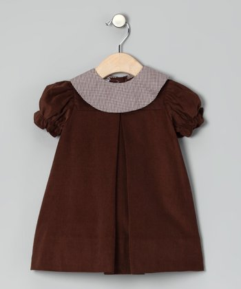 Brown Corduroy Puff-Sleeve Dress - Infant & Toddler