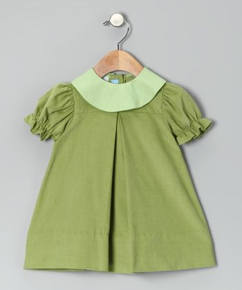 Green Corduroy Puff-Sleeve Dress - Infant & Toddler