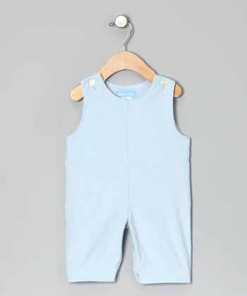 Light Blue Corduroy Initial Overalls - Toddler