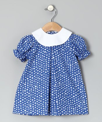 Royal Polka Dot Puff-Sleeve Dress - Infant & Toddler