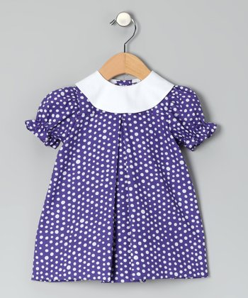 Purple Polka Dot Puff-Sleeve Dress - Infant & Toddler