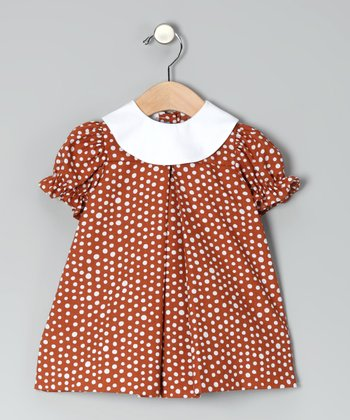 Burnt Orange Polka Dot Puff-Sleeve Dress - Infant & Toddler
