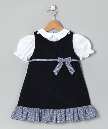 White Blouse & Navy Corduroy Jumper - Infant & Girls